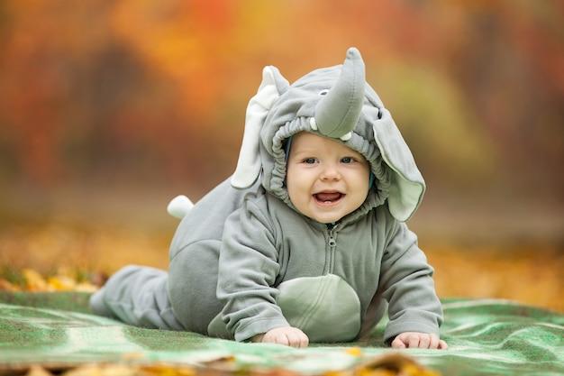 Menino vestido com fantasia de elefante no parque de outono