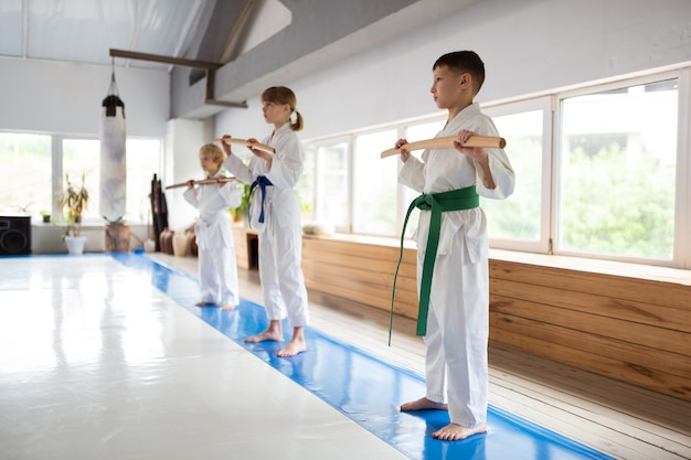 Meninos e meninas parados perto da janela dando aula de aikido