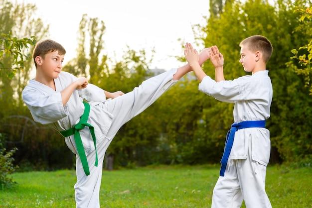Meninos no quimono branco durante o treinamento com exercícios de karatê ao ar livre do verão