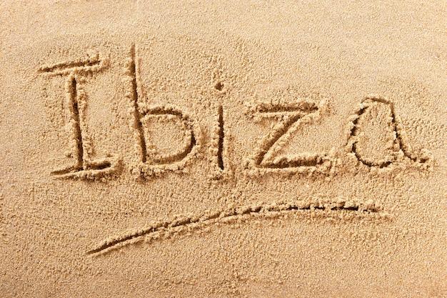 Mensagem da escrita da praia do verão de ibiza