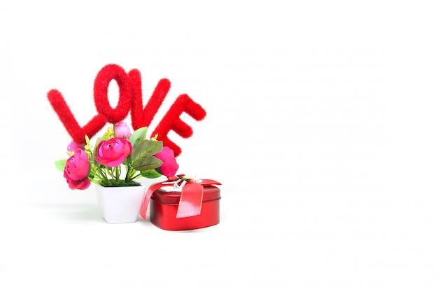 Mensagem de amor com caixa de presente