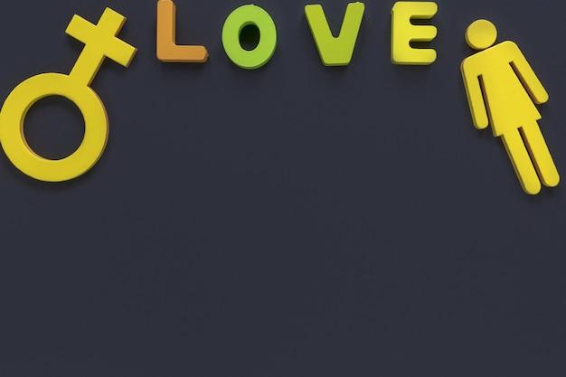Mensagem de amor e símbolo de gênero de mulher