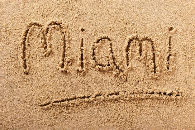 Mensagem de areia de miami beach