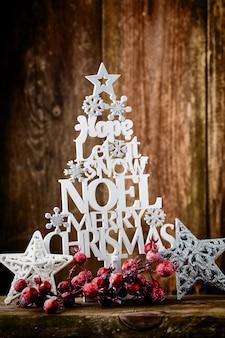 Mensagem de citação de natal vintage com decoração de natal.