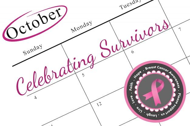 Mensagem de conscientização do câncer de mama em rosa