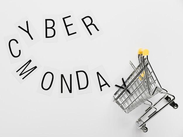 Mensagem de cyber segunda-feira com carrinho