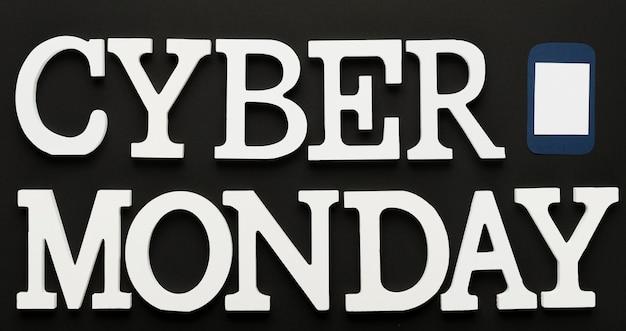 Mensagem de cyber segunda-feira com telefone