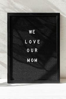 Mensagem de dia das mães feliz vista frontal