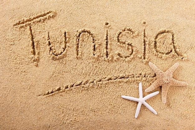 Mensagem de escrita de praia verão tunísia