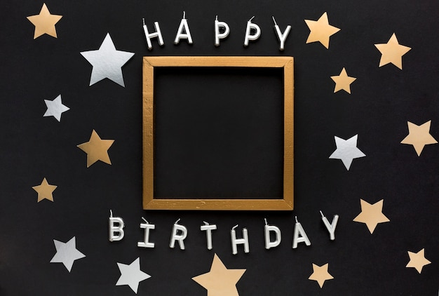 Mensagem de feliz aniversário com moldura