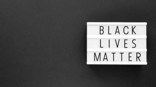 Mensagem de movimento da matéria de vidas negras com espaço de cópia