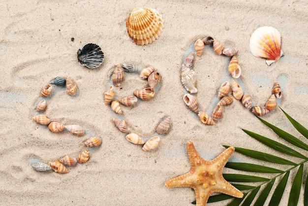 Mensagem do mar formada por mariscos