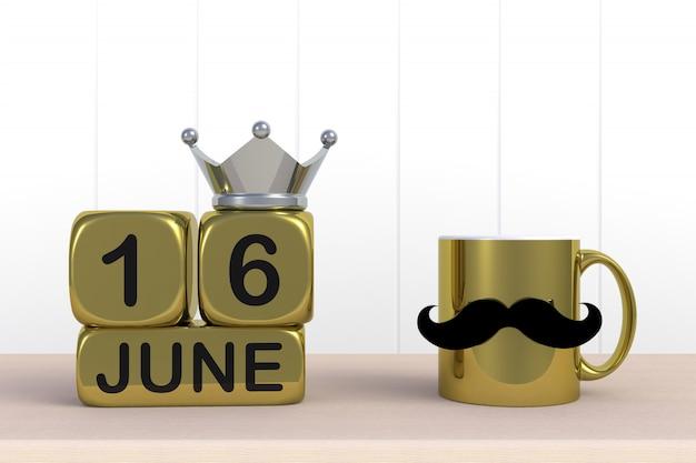 Mensagem feliz dia dos pais, close-up de café com bigode e coroa