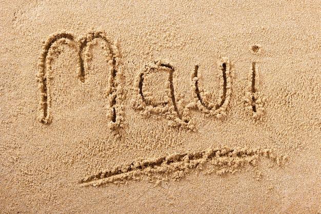 Mensagem manuscrita da areia da praia de maui havaí