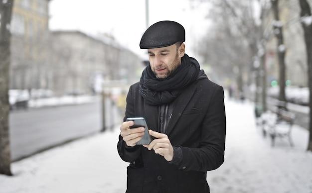 Mensagens de texto no inverno na rua