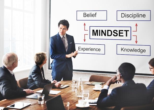 Mentalidade crença disciplina experiência conceito de conhecimento