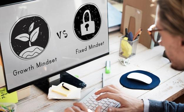 Mentalidade oposta positividade negatividade pensamento conceito