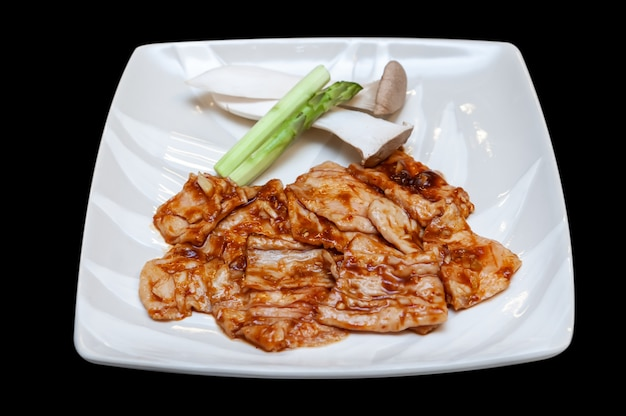 Menu de yakiniku de intestino bovino japonês.