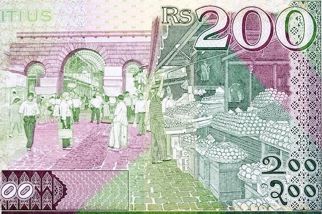 Mercado central em port louis com dinheiro da maurícia