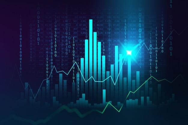 Mercado de ações ou forex trading gráfico no conceito gráfico adequado para investimento financeiro