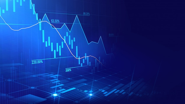 Mercado de ações ou gráfico de negociação forex no conceito gráfico