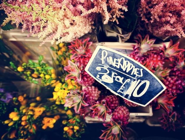 Mercado de plantas de buquê de flores