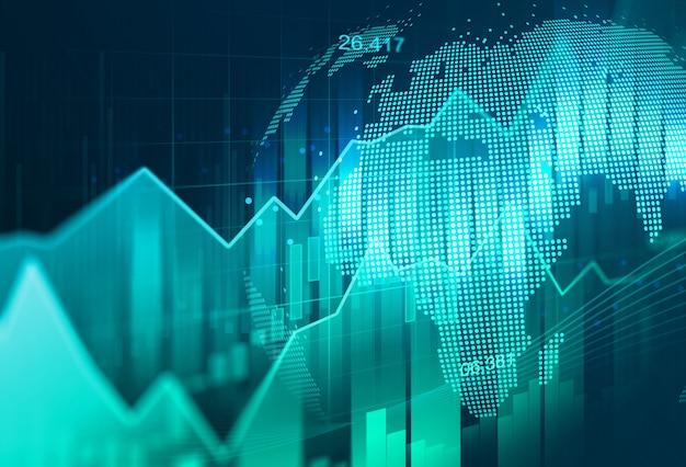 Mercado de valores de acção ou gráfico de troca dos estrangeiros no conceito gráfico apropriado para o investimento financeiro ou a ideia econômica do negócio das tendências e todo o projeto de trabalho da arte.