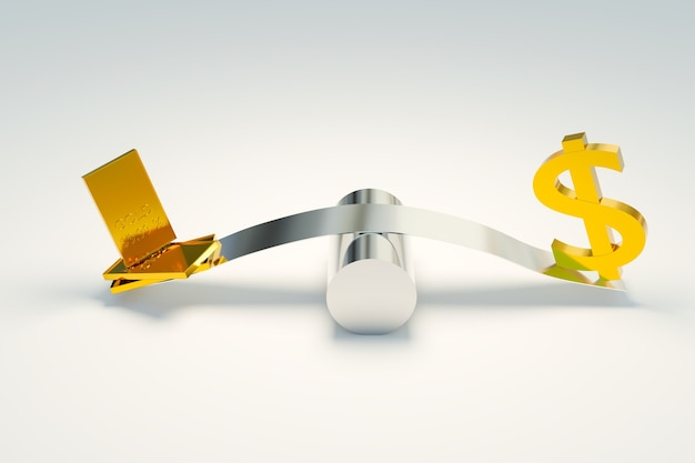 Mercado forex de negociação de ouro e símbolos de dólar, renderização de ilustrações 3d