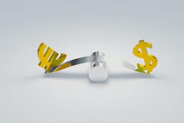 Mercado forex de negociação em eurusd e símbolos de dólar, renderização de ilustrações 3d