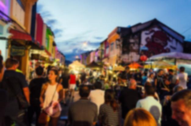 Mercado noturno do festival blur