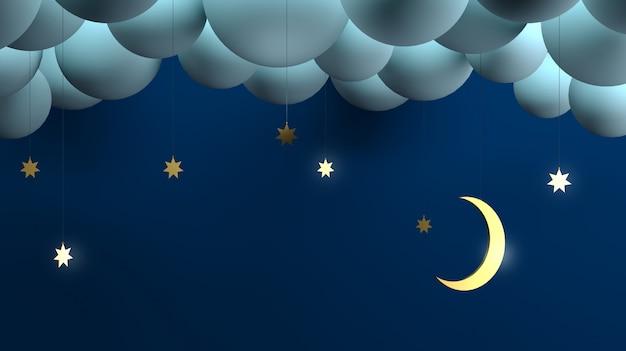 Mês decorativo das estrelas das nuvens da noite.