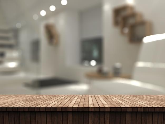 Mesa 3d de madeira com vista para um interior de sala defocussed