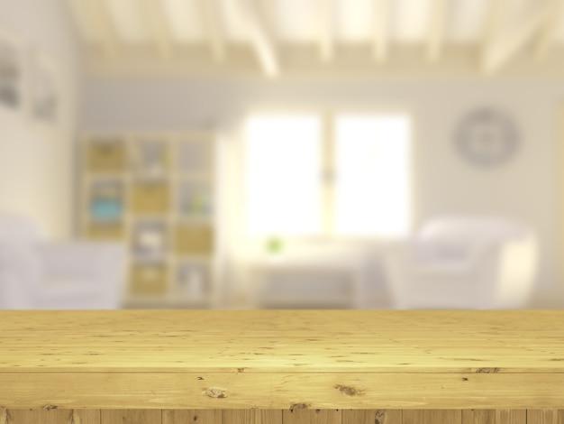 Mesa 3d de madeira com vista para um interior de salão defocussed