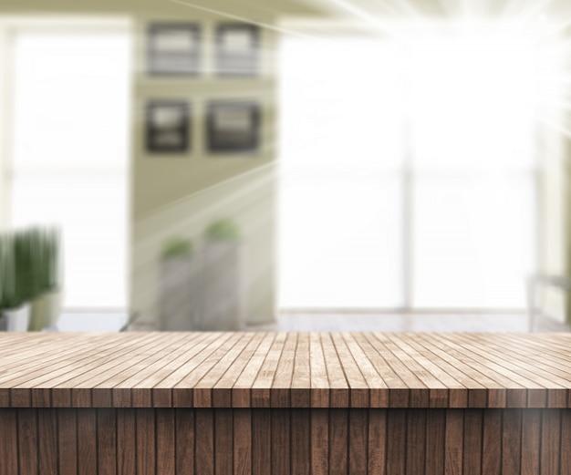 Mesa 3d de madeira com vista para um interior ensolarado quarto defocussed