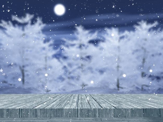 Mesa 3d de madeira com vista para uma paisagem de árvores nevadas