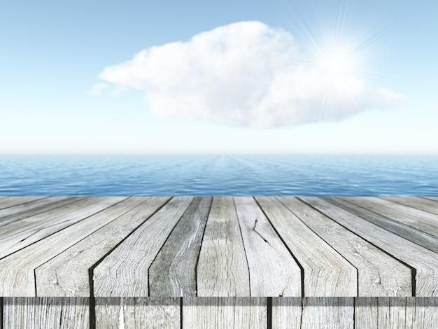 Mesa 3d de madeira com vista para uma paisagem do oceano