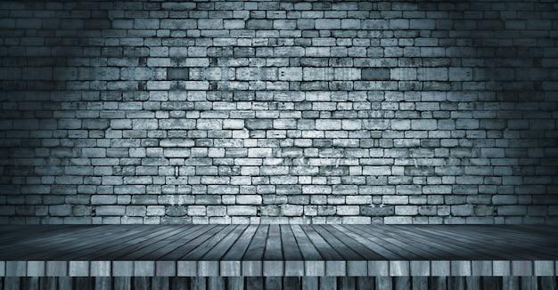 Mesa 3d de madeira com vista para uma parede de tijolos