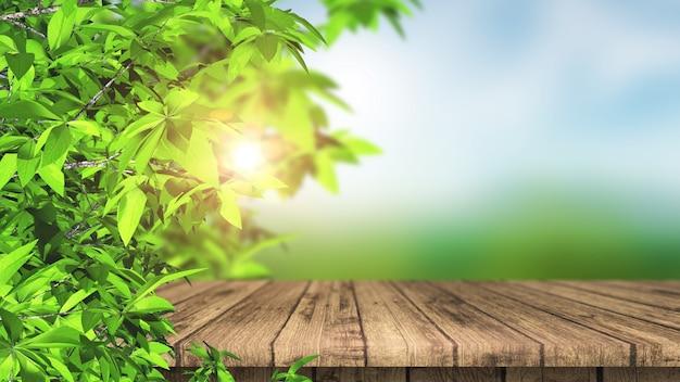 Mesa 3d de madeira e folhas contra uma paisagem desfocada