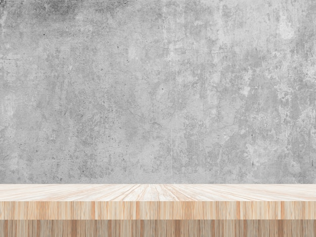 Mesa 3d de madeira, olhando para um muro de concreto em branco