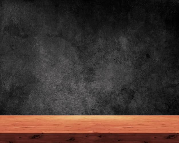 Mesa 3d de madeira sobre um fundo preto grunge