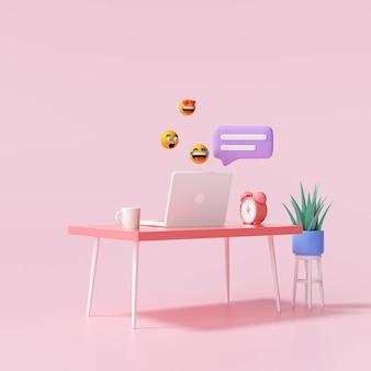 Mesa 3d e laptop com bate-papo de bolhas e emojis para trabalhar em casa e conceito de bate-papo online. ilustração 3d render