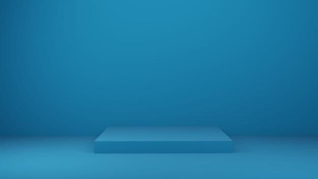 Mesa azul no estúdio ou sala de exposições para o produto atual, renderização em 3d