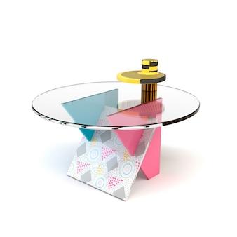Mesa colorida brilhante bonito no estilo de memphis