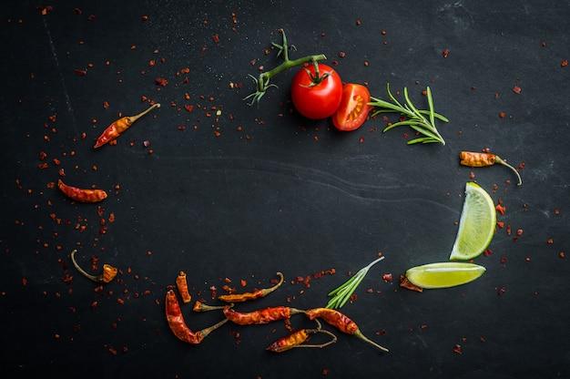 Mesa com legumes