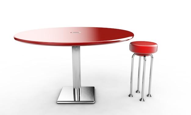 Mesa de bar moderna com duas cadeiras em fundo branco. imagem 3d renderizada.