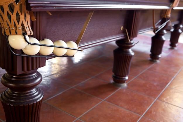 Mesa de bilhar com esferas em um bolso de bilhar