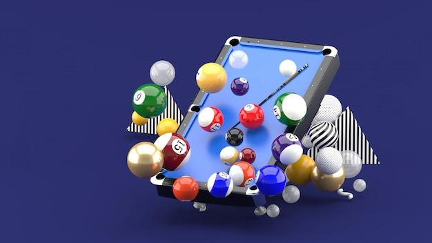 Mesa de bilhar entre as bolas coloridas no roxo. renderização em 3d.