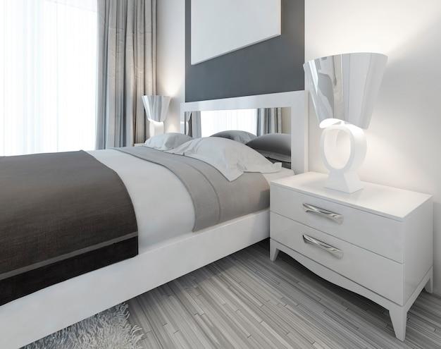 Mesa de cabeceira branca moderna com lâmpada ao lado da cama em um quarto de estilo contemporâneo. 3d render.