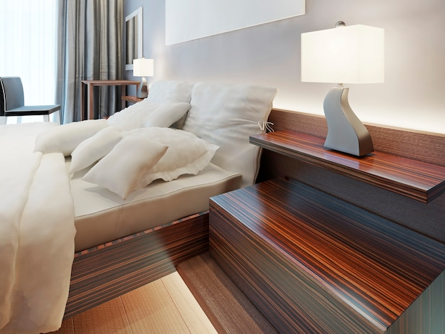 Mesa de cabeceira de madeira moderna em forma de prateleiras. prateleira de cabeceira zebrano com abajur acesa. solução moderna para o quarto. 3d render.