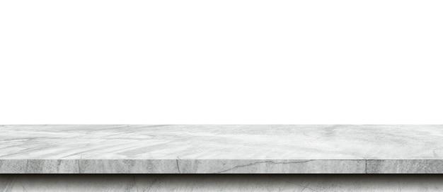 Mesa de cimento vazia em fundo branco isolado com espaço de cópia e montagem de exibição para o produto.